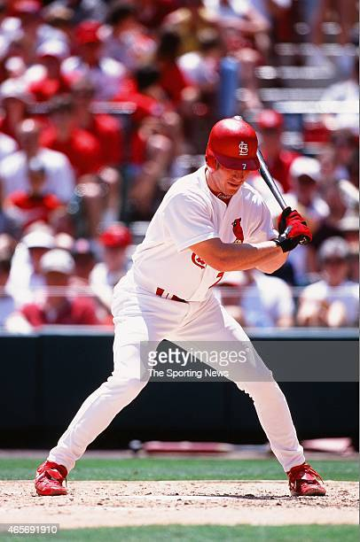 D Drew of the St Louis Cardinals bats against the Cleveland Indians at Busch Stadium on June 4 2000 in St Louis Missouri