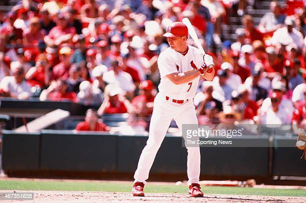 D Drew of the St Louis Cardinals bats against the Los Angeles Dodgers on September 9 2001