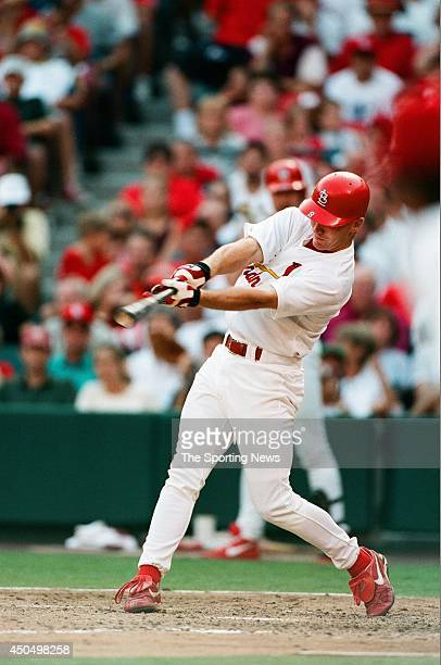 D Drew of the St Louis Cardinals bats against the Montreal Expos at Busch Stadium on September 25 1998 in St Louis Missouri The Cardinals defeated...