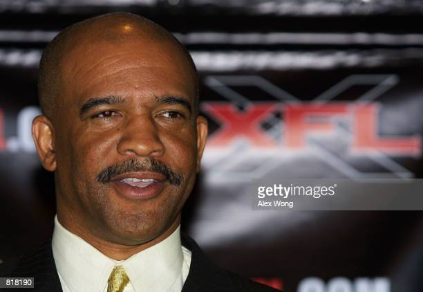 Drew Pearson General Manager of the New York/New Jersey Hitmen and a former player of the Dallas Cowboys speaks during a news conference March 27...