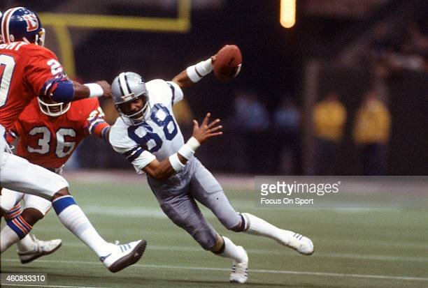 Drew Pearson of the Dallas Cowboys runs with the ball against the Denver Broncos during Super Bowl XII on January 15 1978 at the Louisiana Super dome...