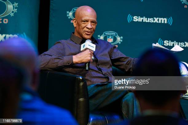Drew Pearson speaks at pro football Hall of Fame inductee Gil Pearson SiriusXM town hall at Umstattd Hall at the Zimmerman Symphony Center on August...
