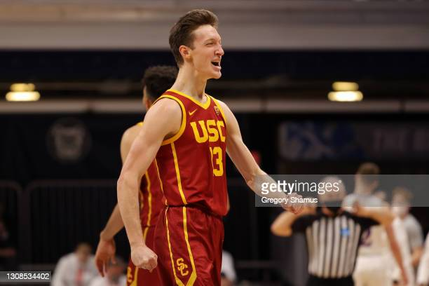 Drew Peterson of the USC Trojans reacts in the first half of their second round game against the Kansas Jayhawks in the 2021 NCAA Men's Basketball...