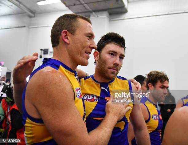 Drew Petrie and Jeremy McGovern of the Eagles celebrate after the AFL First Elimination Final match between Port Adelaide Power and West Coast Eagles...