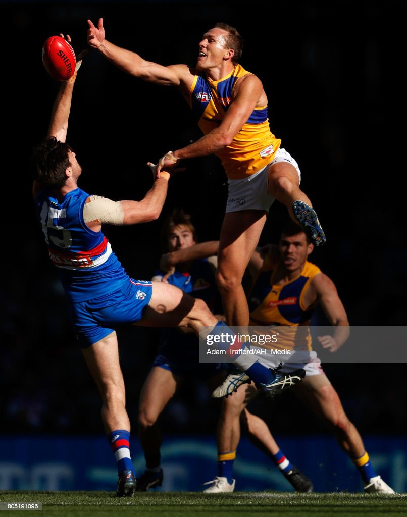 Drew Petrie of the Eagles and Tom Campbell of the Bulldogs compete in a ruck contest during the 2017 AFL round 15 match between the Western Bulldogs and the West Coast Eagles at Etihad Stadium on July 01, 2017 in Melbourne, Australia.