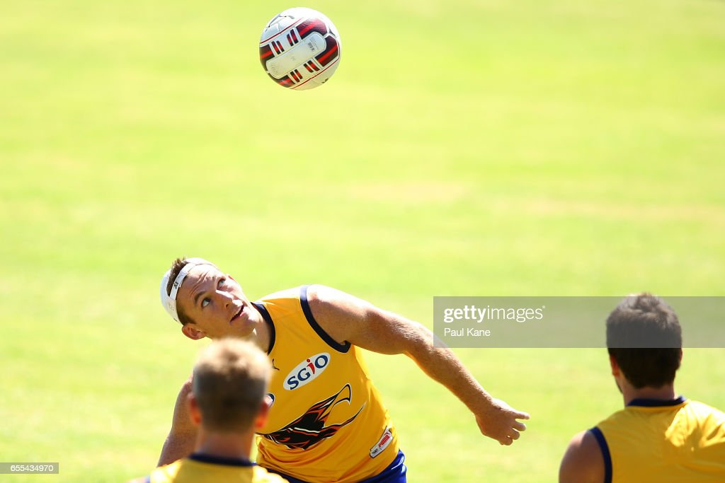Drew Petrie of the Eagles warms up during a West Coast Eagles AFL training session at Domain Stadium on March 20, 2017 in Perth, Australia.