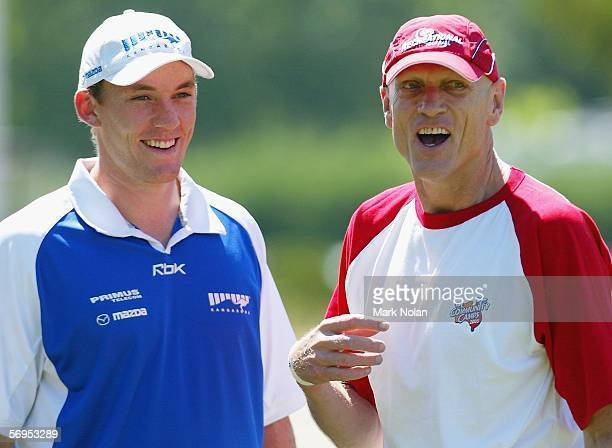 Drew Petrie of the Kangaroos and Peter Garrett Labour Member for Kingsford Smith and lead singer of Midnight Oil share a joke before the recreational...