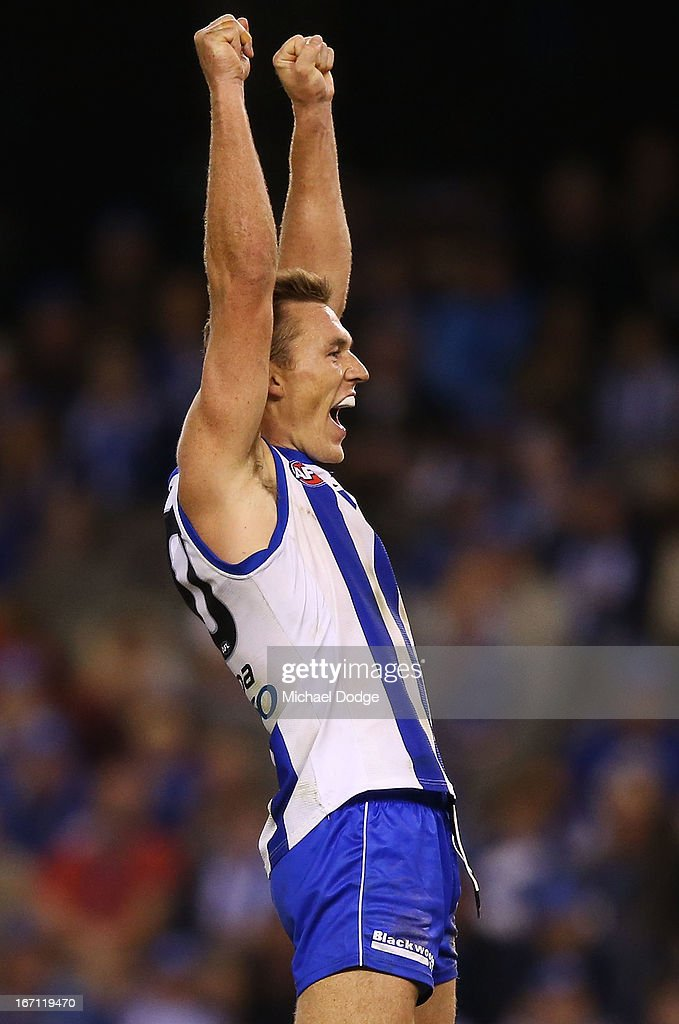 Drew Petrie of the Kangaroos celebrates a goal during the round four AFL match between the North Melbourne Kangaroos and the Brisbane Lions at Etihad Stadium on April 21, 2013 in Melbourne, Australia.