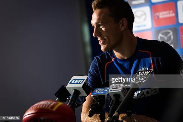 Drew Petrie speaks to the media during a North Melbourne Kangaroos AFL media session at Arden Street Ground on May 3 2016 in Melbourne Australia