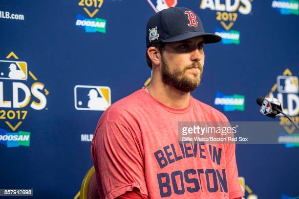 Drew Pomeranz of the Boston Red Sox addresses the media during a press conference before game one of the American League Division Series against the...