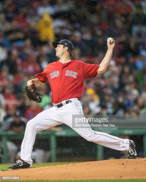 Drew Pomeranz of the Boston Red Sox delivers during the first inning of a game against the New York Yankees on August 18 2017 at Fenway Park in...