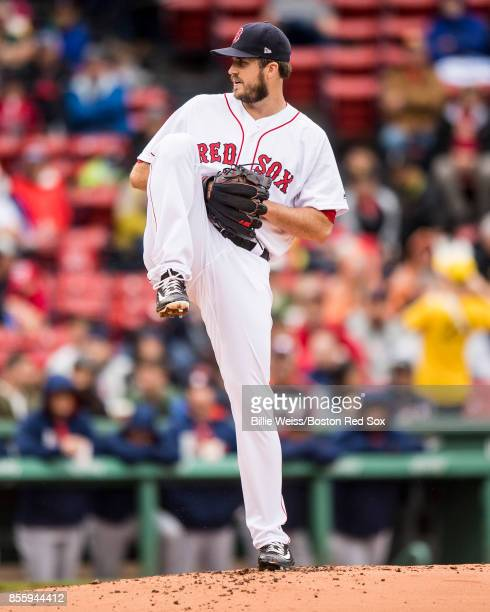 Drew Pomeranz of the Boston Red Sox delivers during the second inning of a game against the Houston Astros on September 30 2017 at Fenway Park in...