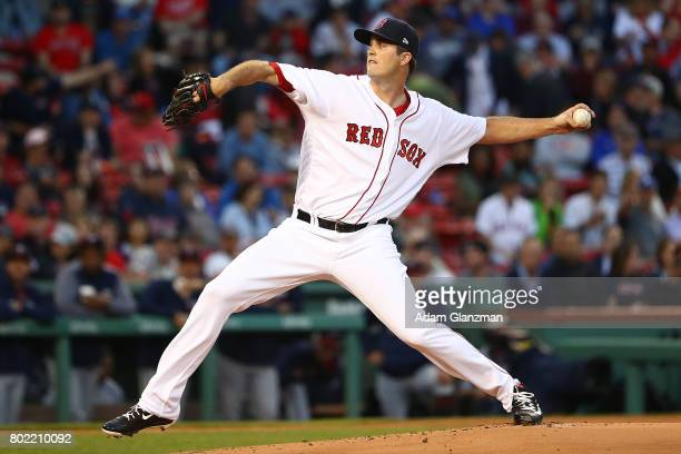 Drew Pomeranz of the Boston Red Sox delivers in the first inning of a game against the Minnesota Twins at Fenway Park on June 27 2017 in Boston...