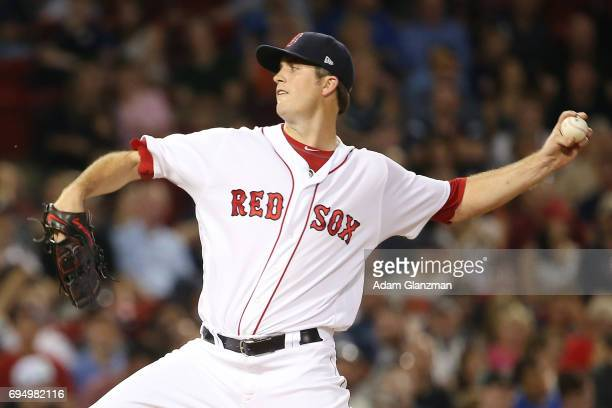 Drew Pomeranz of the Boston Red Sox delivers in the second inning of a game against the Detroit Tigers at Fenway Park on June 11 2017 in Boston...