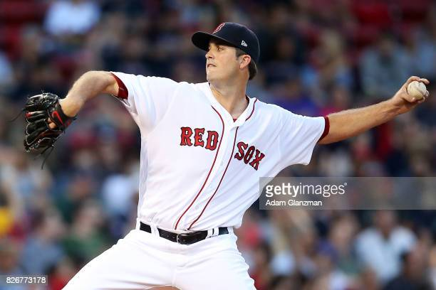 Drew Pomeranz of the Boston Red Sox delivers in the second inning of a game against the Chicago White Sox at Fenway Park on August 5 2017 in Boston...