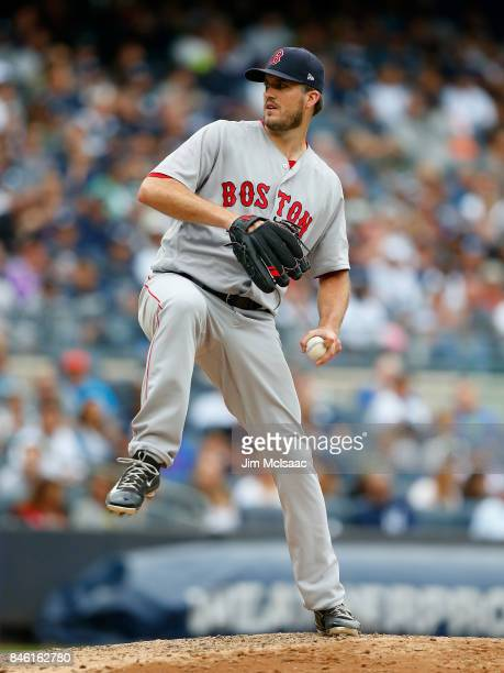 Drew Pomeranz of the Boston Red Sox in action against the New York Yankees at Yankee Stadium on September 2 2017 in the Bronx borough of New York...