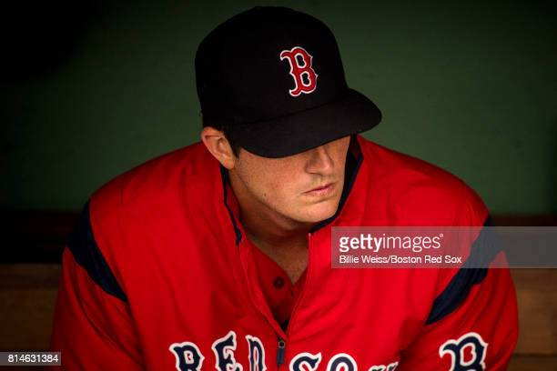 Drew Pomeranz of the Boston Red Sox looks on before a game against the New York Yankees on July 14 2017 at Fenway Park in Boston Massachusetts