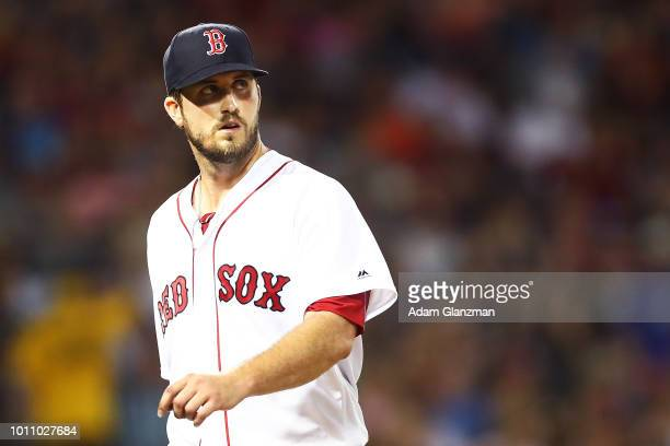 Drew Pomeranz of the Boston Red Sox looks on during a game against the Philadelphia Phillies at Fenway Park on July 31 2018 in Boston Massachusetts