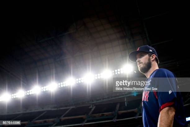 Drew Pomeranz of the Boston Red Sox looks on during a workout before the American League Division Series against the Houston Astros on October 4 2017...