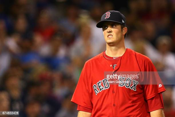 Drew Pomeranz of the Boston Red Sox looks on in the fourth inning of the game against the Chicago Cubs at Fenway Park on April 28 2017 in Boston...