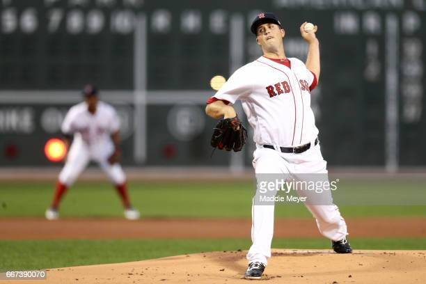 Drew Pomeranz of the Boston Red Sox pitches against the Baltimore Orioles during the first inning at Fenway Park on April 11 2017 in Boston...
