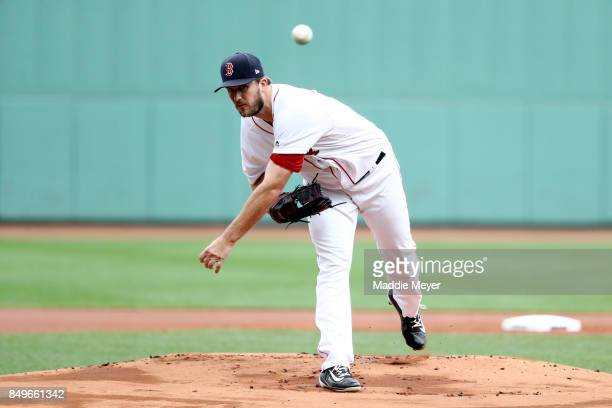 Drew Pomeranz of the Boston Red Sox pitches against the Oakland Athletics during the first inning at Fenway Park on September 14 2017 in Boston...