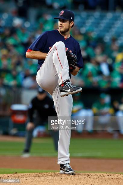 Drew Pomeranz of the Boston Red Sox pitches against the Oakland Athletics during the first inning at the Oakland Coliseum on April 20 2018 in Oakland...