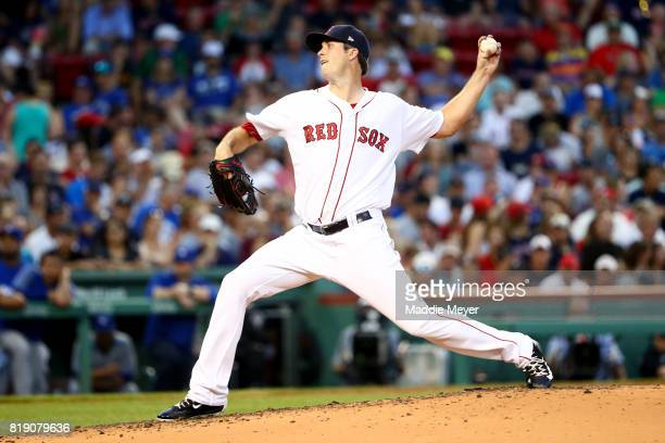 Drew Pomeranz of the Boston Red Sox pitches against the Toronto Blue Jays during the third inning at Fenway Park on July 19 2017 in Boston...