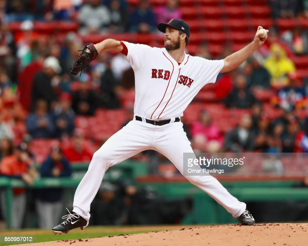 Drew Pomeranz of the Boston Red Sox pitches at the top of the first inning during the game against the Houston Astros at Fenway Park on September 30...