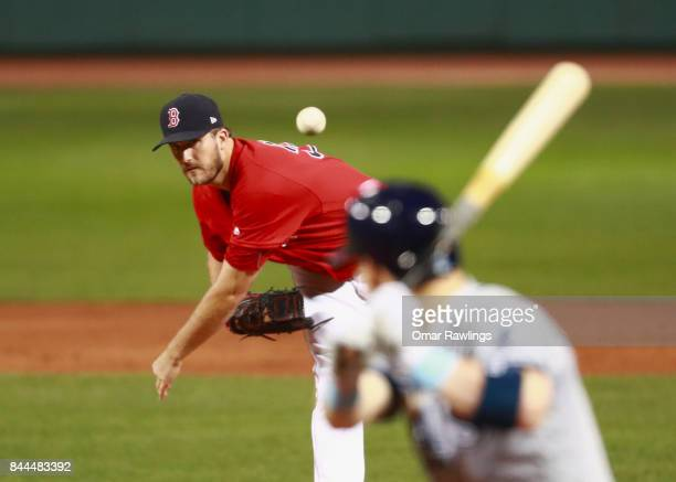 Drew Pomeranz of the Boston Red Sox pitches at the top of the second inning during the game against the Tampa Bay Rays at Fenway Park on September 8...