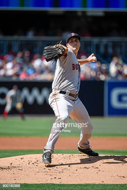 Drew Pomeranz of the Boston Red Sox pitches during a baseball game against the San Diego Padres at PETCO Park on September 5 2016 in San Diego...