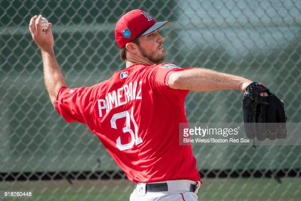 Drew Pomeranz of the Boston Red Sox pitches during a team workout on February 14 2018 at Fenway South in Fort Myers Florida
