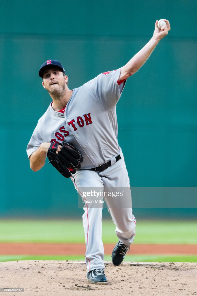 Drew Pomeranz #31 of the Boston Red Sox pitches during the first inning against the Cleveland Indians during the first inning at Progressive Field on August 23, 2017 in Cleveland, Ohio.