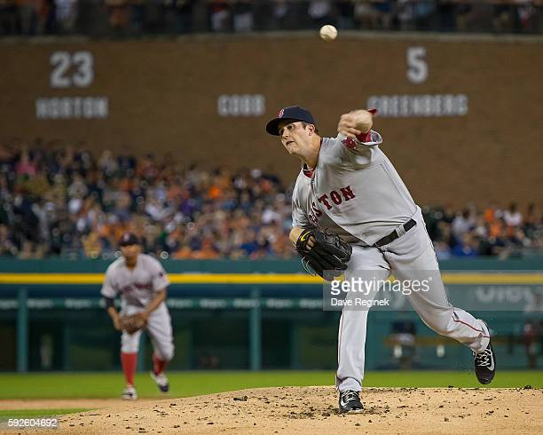 Drew Pomeranz of the Boston Red Sox pitches in the first inning during a MLB against the Detroit Tigers game at Comerica Park on August 20 2016 in...