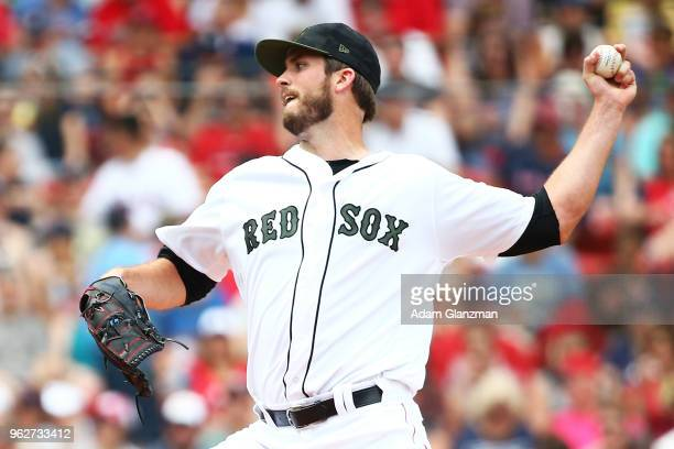 Drew Pomeranz of the Boston Red Sox pitches in the third inning of a game against the Atlanta Braves at Fenway Park on May 26 2018 in Boston...