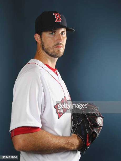 Drew Pomeranz of the Boston Red Sox poses for a portrait during the Boston Red Sox photo day on February 20 2018 at JetBlue Park in Ft Myers Florida