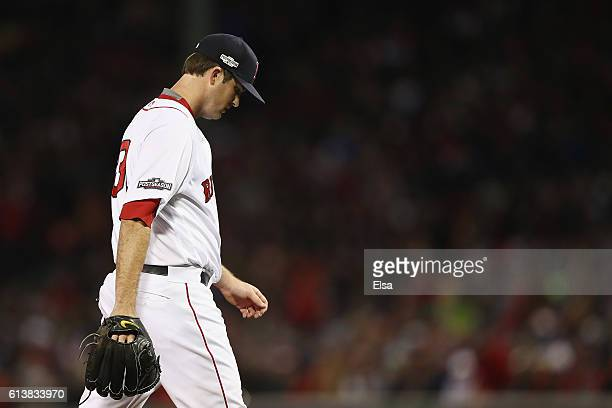 Drew Pomeranz of the Boston Red Sox reacts as he is relieved in the sixth inning against the Cleveland Indians during game three of the American...