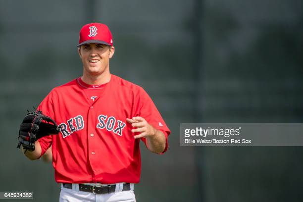 Drew Pomeranz of the Boston Red Sox reacts before a Spring Training game against the St Louis Cardinals on February 27 2017 at Fenway South in Fort...