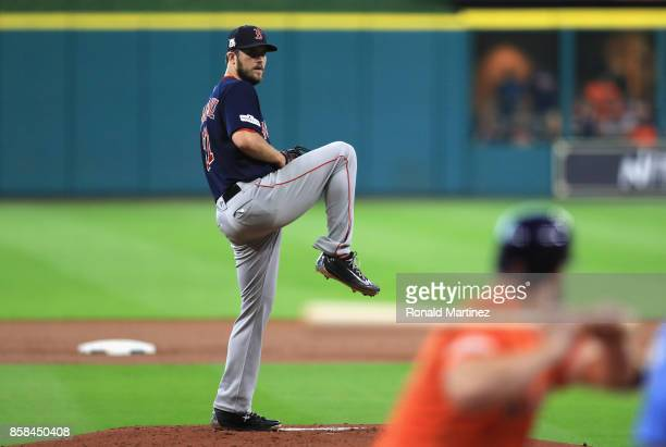 Drew Pomeranz of the Boston Red Sox stands on the pitcher's mound in the first inning against the Houston Astros during game two of the American...