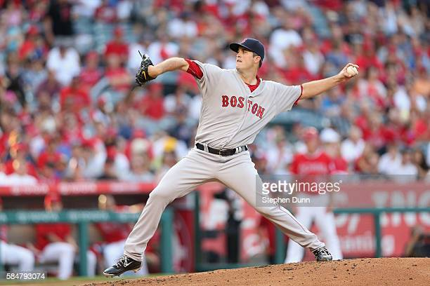 Drew Pomeranz of the Boston Red Sox throws a pitch against the Los Angeles Angels of Anaheim at Angel Stadium of Anaheim on July 30 2016 in Anaheim...