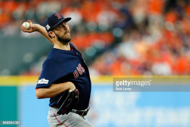 Drew Pomeranz of the Boston Red Sox throws a pitch in the first inning against the Houston Astros during game two of the American League Division...