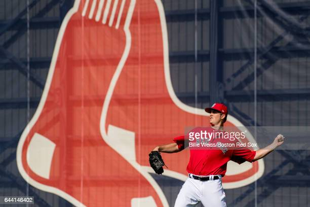 Drew Pomeranz of the Boston Red Sox throws before a game against Northeastern University on February 23 2017 at Fenway South in Fort Myers Florida