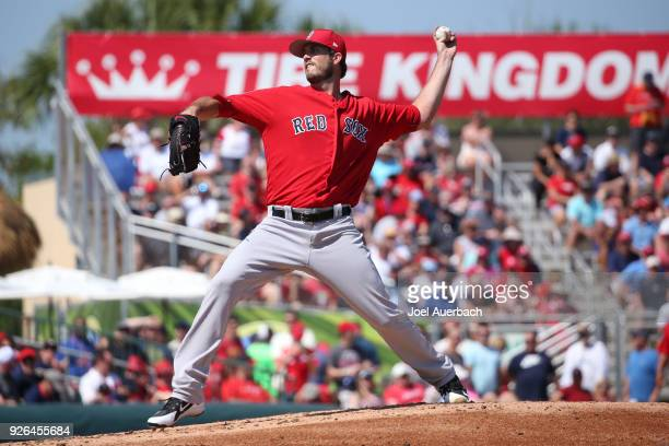 Drew Pomeranz of the Boston Red Sox throws the ball against the St Louis Cardinals during a spring training game at Roger Dean Chevrolet Stadium on...