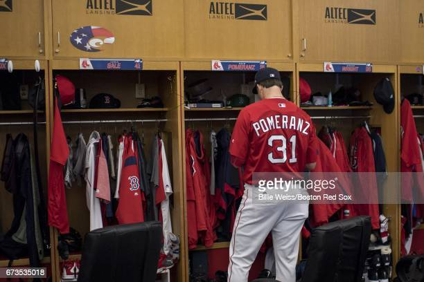 Drew Pomeranz of the Boston Red Sox waits at his locker before a game against the New York Yankees on April 26 2017 at Fenway Park in Boston...