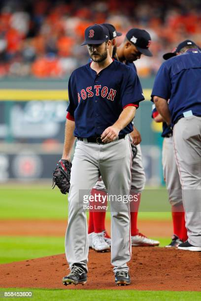 Drew Pomeranz of the Boston Red Sox walks to the dugout after being relieved in the third inning against the Houston Astros during game two of the...