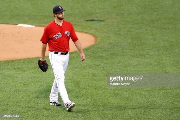 Drew Pomeranz of the Boston Red Sox walks to the dugout after pitching against the Baltimore Orioles during the first inning at Fenway Park on May 18...