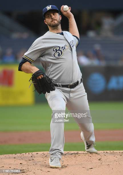 Drew Pomeranz of the Milwaukee Brewers delivers a pitch in the first inning during the game against the Pittsburgh Pirates at PNC Park on August 7...