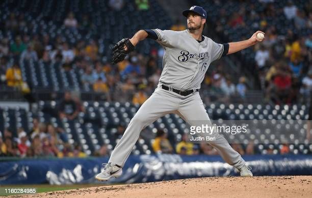 Drew Pomeranz of the Milwaukee Brewers delivers a pitch in the second inning during the game against the Pittsburgh Pirates at PNC Park on August 7...