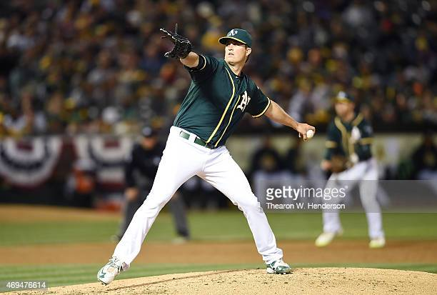 Drew Pomeranz of the Oakland Athletics pitches against the Seattle Mariners in the top of the third inning at Oco Coliseum on April 10 2015 in...
