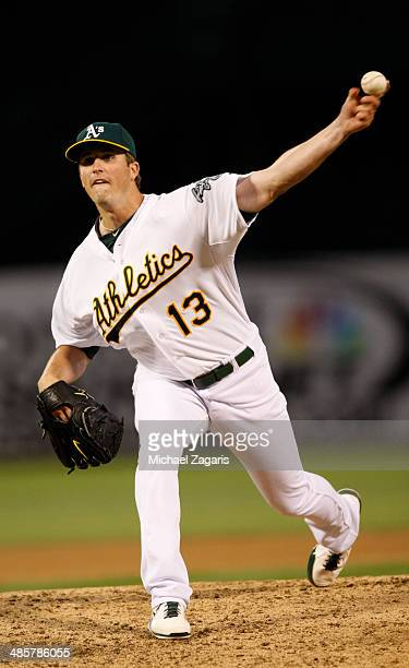 Drew Pomeranz of the Oakland Athletics pitches during the game against the Cleveland Indians at Oco Coliseum on April 2 2014 in Oakland California...